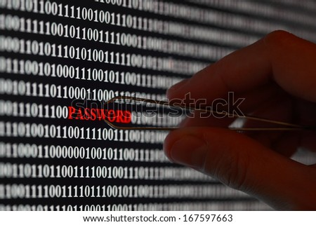 Computer screen shot with binary code and password text, great concept for computer, technology and online security - stock photo