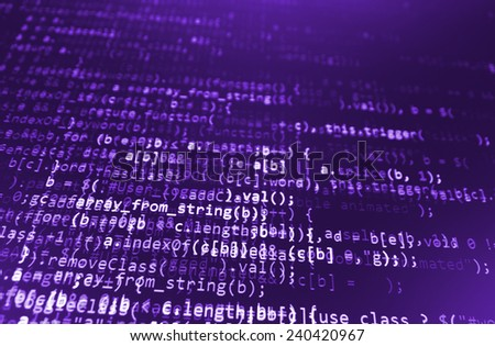 Computer script. Programming code abstract screen of software developer. Digital abstract bits data stream, cyber pattern digital background. Selective focus effect. Purple pink color.  - stock photo