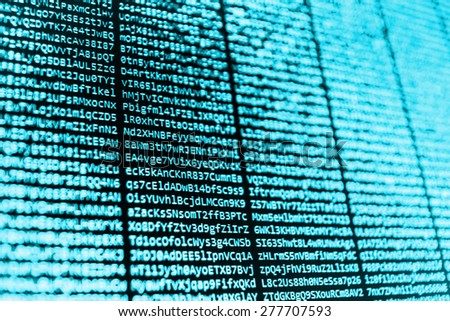 Computer script. Programming code abstract screen of software developer. Digital abstract bits data stream, cyber pattern digital background. Selective focus effect. - stock photo