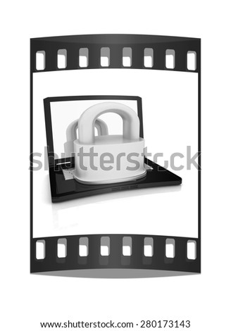 Computer security concept on a white background. The film strip - stock photo