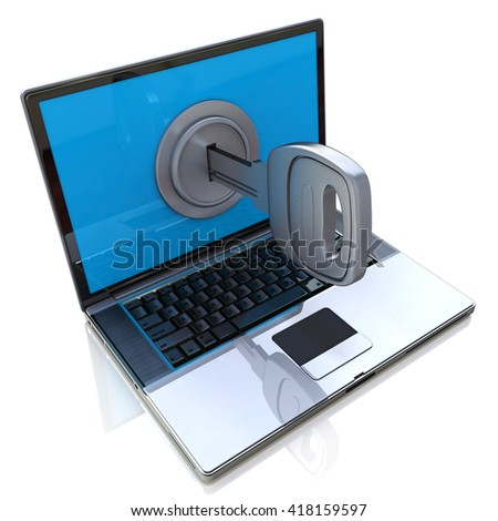 Computer security 3d concept - laptop and key in the design of information related to internet technologies. 3d illustration - stock photo
