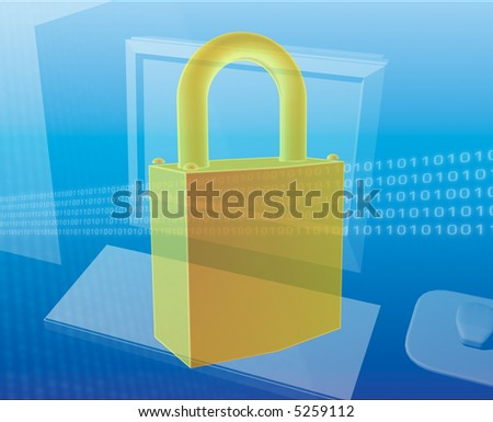 Computer security lock over computer digital collage - stock photo