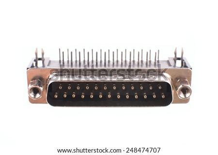 Computer serial port connector data isolated on white background - stock photo
