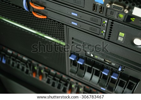 Computer Server and  CD or DVD drive in datacenter - stock photo