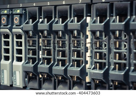 Computer Server and raid storage in datacenter , process in vintage style - stock photo