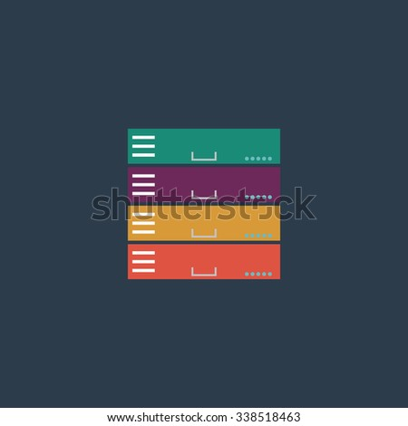 Computer Server. Colored simple icon. Flat retro color modern illustration symbol - stock photo