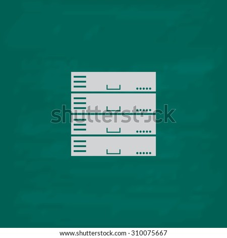 Computer Server.  Icon. Imitation draw with white chalk on green chalkboard. Flat Pictogram and School board background. Illustration symbol - stock photo