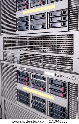 Computer Server in rack server close up - stock photo