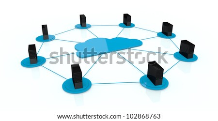 computer servers connected each other and with a big cloud on center; concept of cloud computing (3d render) - stock photo