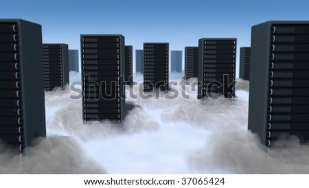 Computer servers staggered in the clouds with glowing light below. - stock photo