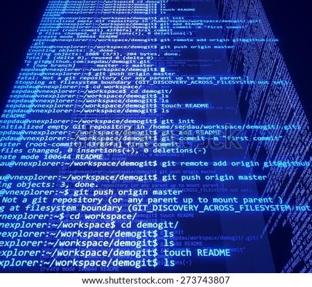Computer Software. 3D. Screens with program code - stock photo