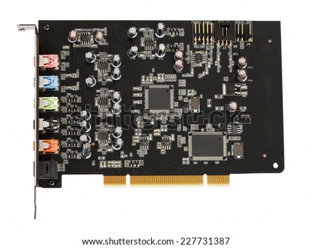 Computer sound card the chip isolated on a white background - stock photo