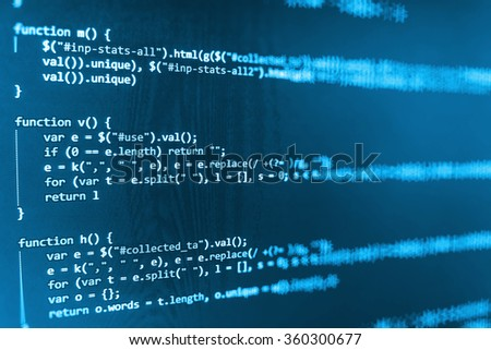 Computer source code programmer script developer. Modern technology background. Web software. Shallow depth of field, selective focus effect. - stock photo