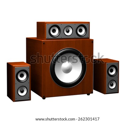 computer speakers on a white background - stock photo