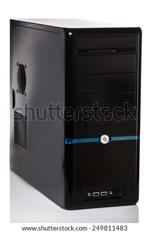 Computer system unit on white background - stock photo