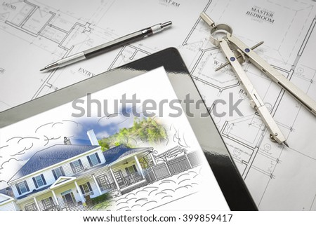 Computer Tablet Showing House Illustration Sitting On House Plans With Pencil and Compass. - stock photo