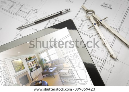 Computer Tablet Showing Living Room Illustration Sitting On House Plans With Pencil and Compass. Photos used on the walls and TV are my copyright. - stock photo