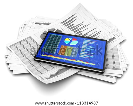 Computer tablet with business documents - stock photo