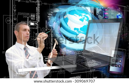 Computer technology.Designing - stock photo