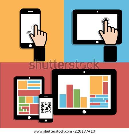 Computer technology. Touch - sensitive screen - stock photo