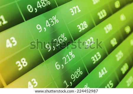 Computer ticker monitor. Modern virtual technology. Business stock exchange. Data analyzing.  Real time stock exchange. Green stock market. - stock photo