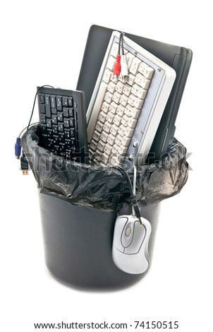 Computer trash bin. Isolated on white background - stock photo