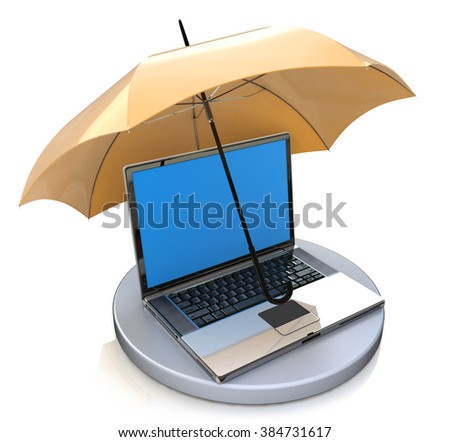 Computer under protection of umbrella. Informational security concept in the design of the information related to the electronic protection - stock photo