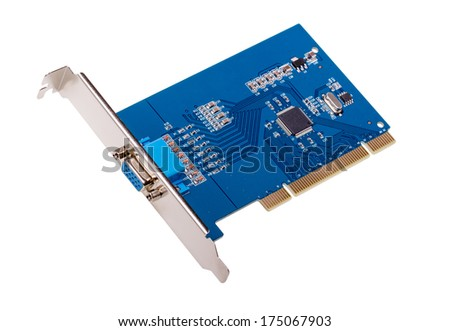 Computer video capture card isolated on white background - stock photo