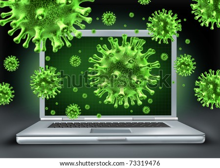 Computer virus symbol represented by a laptop with green cyber attacking bacteria hacking into the internet network. - stock photo