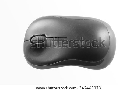 Computer wireless mouse is photographed close up - stock photo