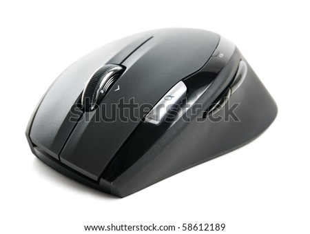Computer wireless mouse isolated over white - stock photo