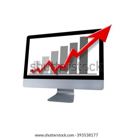 Computer with Red Arrow Graphic Showing Increase - stock photo