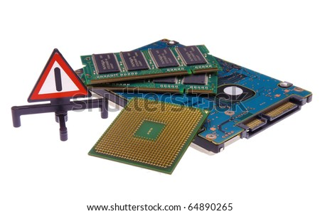 Computer work in progress (Laptop internal hardware parts with warning sign) isolated on a white background - stock photo