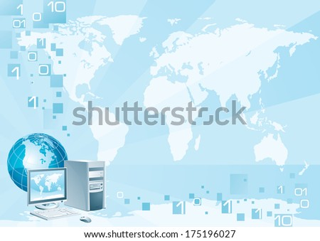 Computer world. Illustration of the computer with the flat monitor, the mouse and the globe on an abstract background with a world map - stock photo