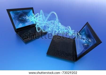 Computers exchange data - stock photo