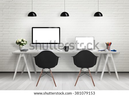 Computers on the desk in the office. Workplace with pc and laptop isolated displays for mock up. Chairs, lamps, flower, plant, pencils, cup of coffee on table. - stock photo