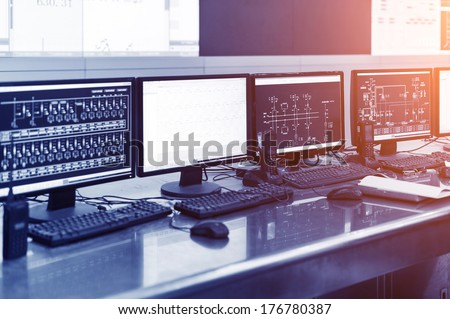 Computers  on the table in the lab - stock photo