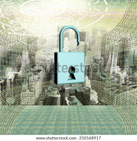 Computers security financial business.Safety programming connection - stock photo
