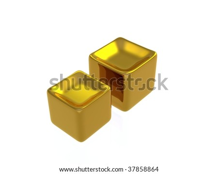 concave golden cubes - stock photo
