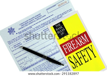 Concealed Weapon Permit Application and Safety  Brochure - stock photo