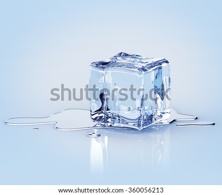 Concealing ice cube with water drops on a light background. 3d render - stock photo