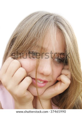 Conceived teenage girl - stock photo
