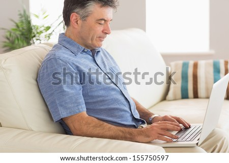 Concentrated mature man using a laptop sitting on a sofa  - stock photo