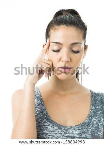 concentrated woman - stock photo