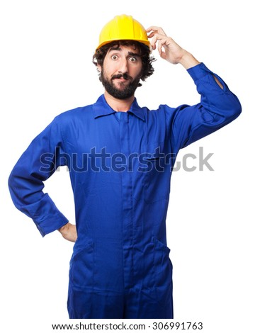 concentrated worker man doubting - stock photo
