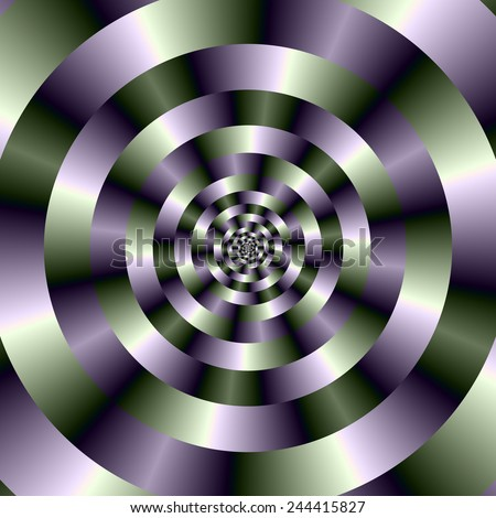 Concentric Circles in Green and Purple / A digital abstract image with a concentric circles design in green and purple. - stock photo