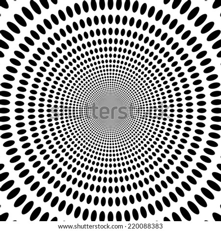 Concentric oncoming abstract symbol, circles, ellipses - optical, visual illusion - stock photo