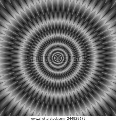 Concentric Rings in Monochrome / A digital abstract fractal image with an optically challenging concentric circles design in black and white. - stock photo