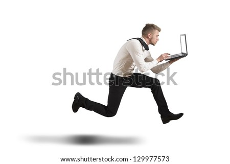 Conceot of competition with running businessman on isolated background - stock photo