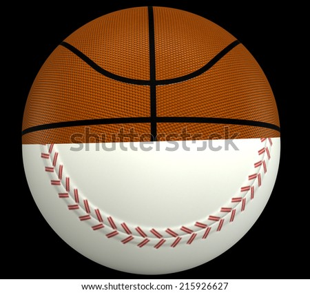 concept, a basketball and baseball ball. isolated on black background. 3d illustration - stock photo